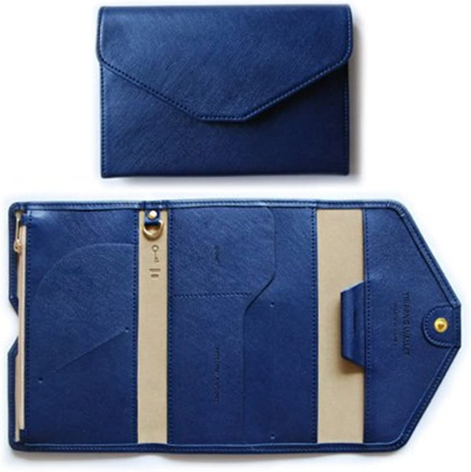 osierr6 Portable PU Leather Passport Holder Bag Ultrathin Multi-functional Soft Leather Ticket Passport Credit Card ID Document Organizer Holder Bag Purse Travel Pouch Case Cover Navy Blue