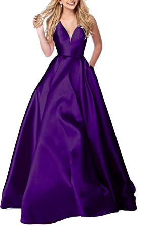 Ladsen Long Deep V-Neck Prom Dress 2018 Ball Gown Stain Pageant Gowns Purple US26