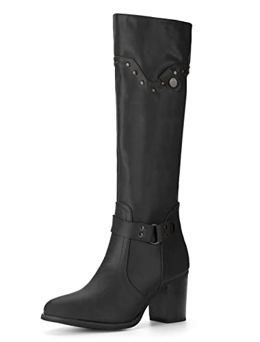 064cbd28e80 Allegra K Women s Studded Strap Decor Chunky Heel Riding Boots (Size US 6)  Black