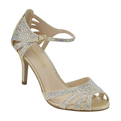 City Classified Comfort Womens Strappy Rhinestone Open Toe Low Heel Heeled-Sandals | Heeled Sandals