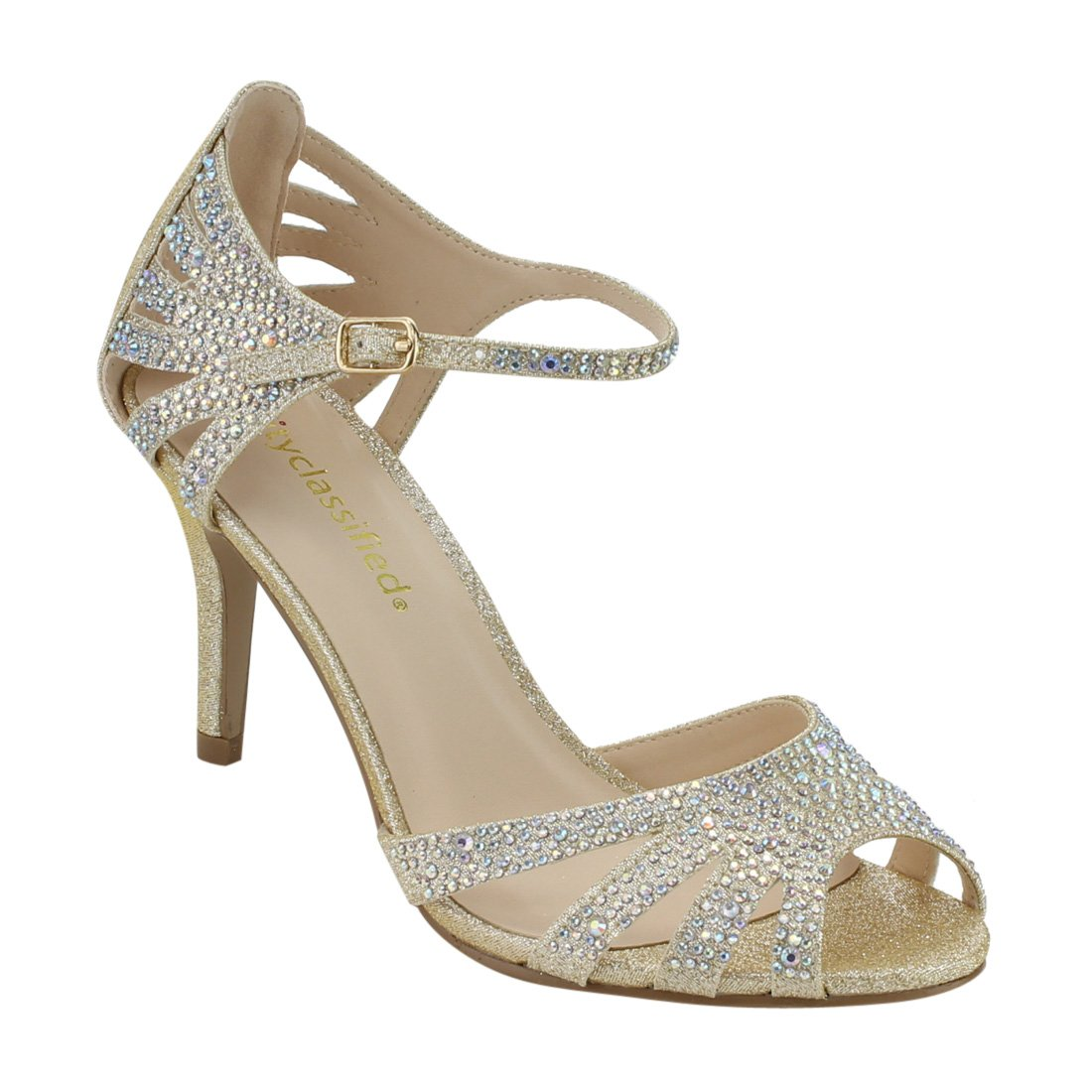City Classified Reason Women's Strappy Open Toe Iridescent Low Heel (7 Light gold)