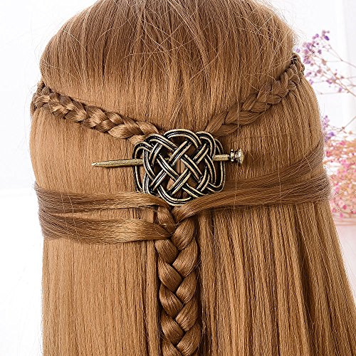 (Celtics Knots Viking Runes Dragons Hairpin Vintage Metal Stick Slide Hair Clips Women Hair Jewelry Accessories Gifts (LF-H))