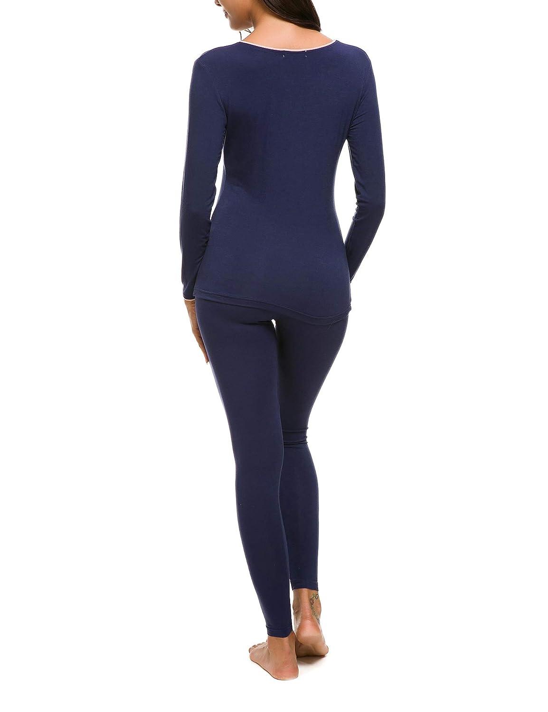 M-anxiu Womens Thermal Underwear Two Piece Lightweight Base Layers Soft Pajamas Set S-XXL