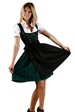 03d29b54ddd24 Edelnice Trachtenmoden Bavarian Women s Midi Dirndl Dress 3-Pieces with  Apron and Blouse Black Green