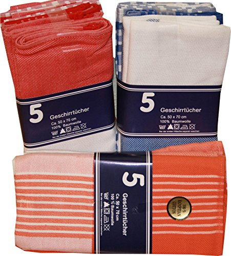 Geschirrtuch 5er Sparset 100% Baumwolle Küchentuch Geschirrtücher 50x70 cm, Farbwahl:rot-weiss(30191)