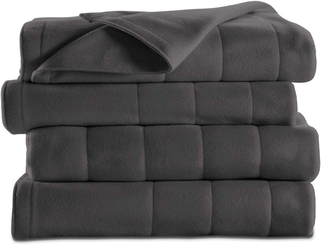 Sunbeam Soft Quilted Fleece Electric Heated Warming Blanket Twin Slate Gray Washable Auto Shut Off 5 Heat Settings