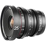 MEKE 25mm T2.2 Large Aperture Manual Focus Low Distortion Mini Cine Lens for Micro Four Thirds Mount Compatible with Olympus Panasonic Lumix Cameras and BMPCC 4K Zcam E2