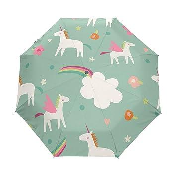 bennigiry Seamless Vector Patrón Con Cute Magic unicornios 3 Folds Auto Abrir Cerrar paraguas compacto,