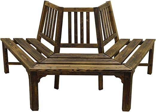 Tree Bench Antique round Garden Shabby Chic Park Seat White Semicircle