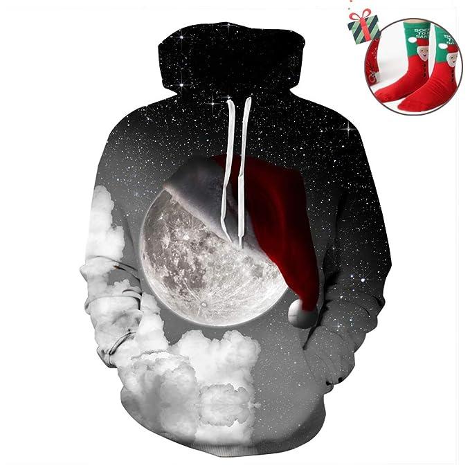 Morbuy Navidad Sudaderas con Capucha Impresas 3D Unisex con Bolsillos, Creativo Hombre Mujer Ocio Manga Larga Hoodies Pullover Moda Tops Deportes ...