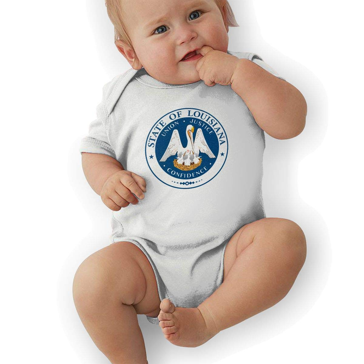 HappyLifea State Seal of Louisiana Newborn Baby Short Sleeve Romper Infant Summer Clothing