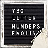 Felt Letter Board - Stand Message Board Wood Vintage Frame Sign Board with 730 Letters, Numbers, Emojis (10x10)