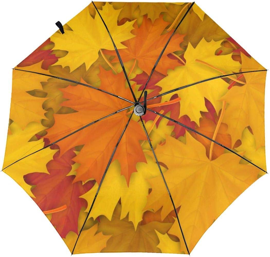 Fallen Maple Leaves Pattern Automatic Tri-fold Umbrella Folding Rain Umbrell Sunshade
