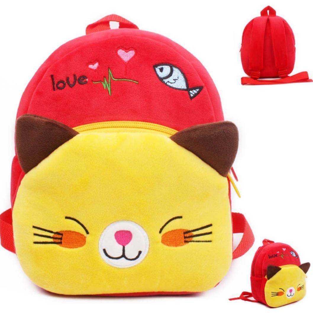 Huichang Cute Toddler Backpack Toddler Bag Plush Animal Cartoon Mini Travel Bag for Baby Girl Boy 1-6 Years