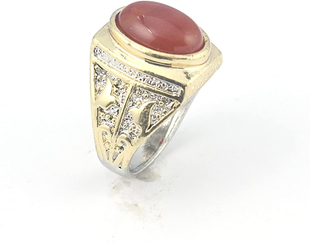 BEST QUALITY CARNELLIAN FASHION JEWELRY SILVER PLATED AND BRASS RING 11 S23145