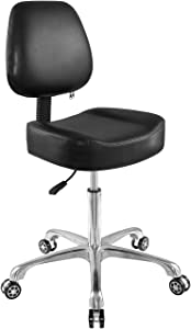 Rolling Stool Adjustable Drafting Chair Heavy Duty with Wheels for Office Home Desk Chair Big Size (Without Foot Ring)