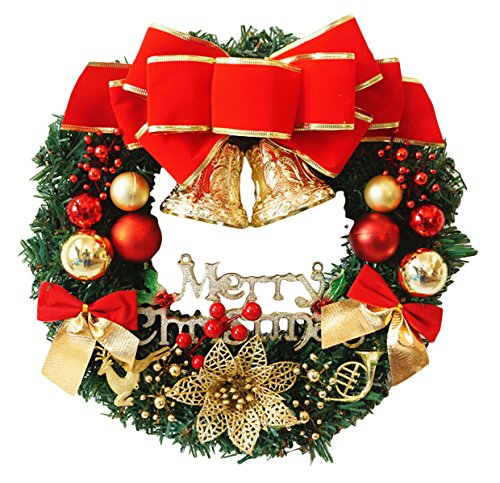 Funpa Christmas Wreath, 12 Inch Artificial Pine Rattan with Bowknot Jingle Bell Ball Ornaments Door Garland for Xmas Party Home Decorations