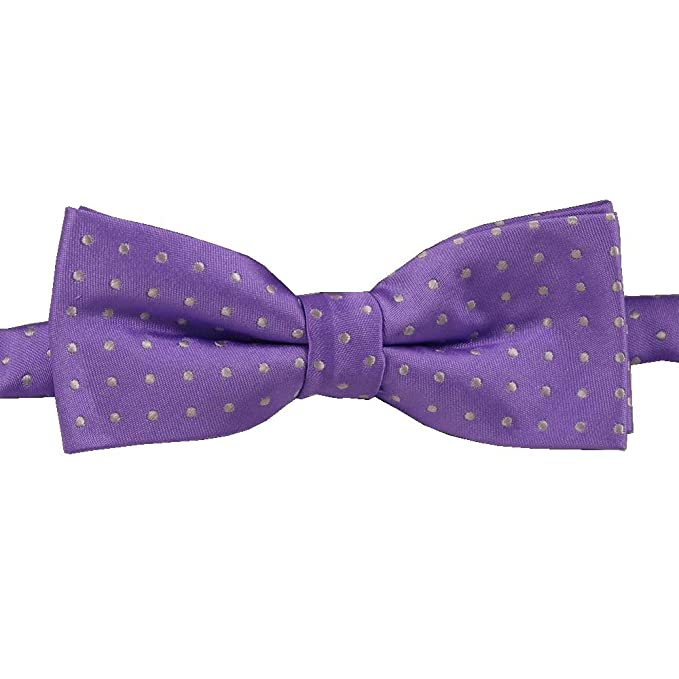 5a2117db25d3 Image Unavailable. Image not available for. Color: Bright Wisteria Purple  with white dots Boys pre-tied Bow Tie