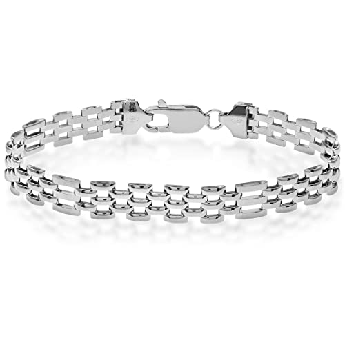 063b56d8f1b Citerna 5 Row Rectangle Gate and Brick Link Panther Sterling Silver Bracelet  of Length 19.5 cm