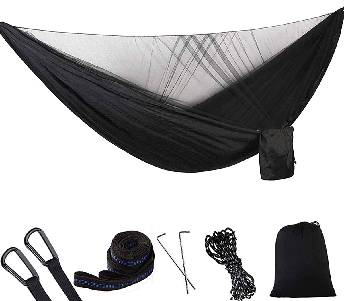 AnorTrek Camping Hammock, Super Lightweight Portable Parachute Hammock with Two Tree Straps Each 5 1 Loops , Single Double Nylon Hammock for Camping Backpacking Travel Hiking Black Gray