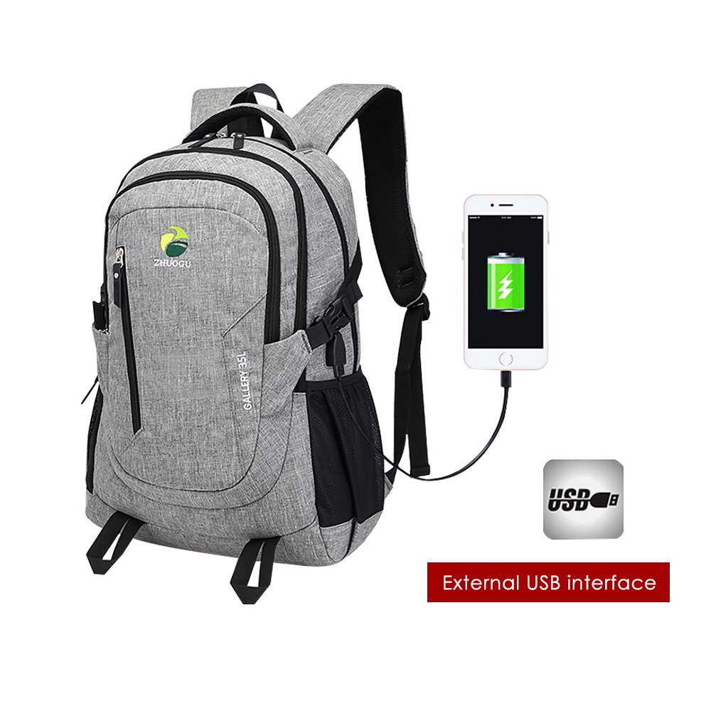 Laptop Backpack, Business School Travel Backpacks Women Men, Anti Theft Durable Hiking Backpack USB Charging Port Fits 15.6 inch Laptop Notebook - Gray