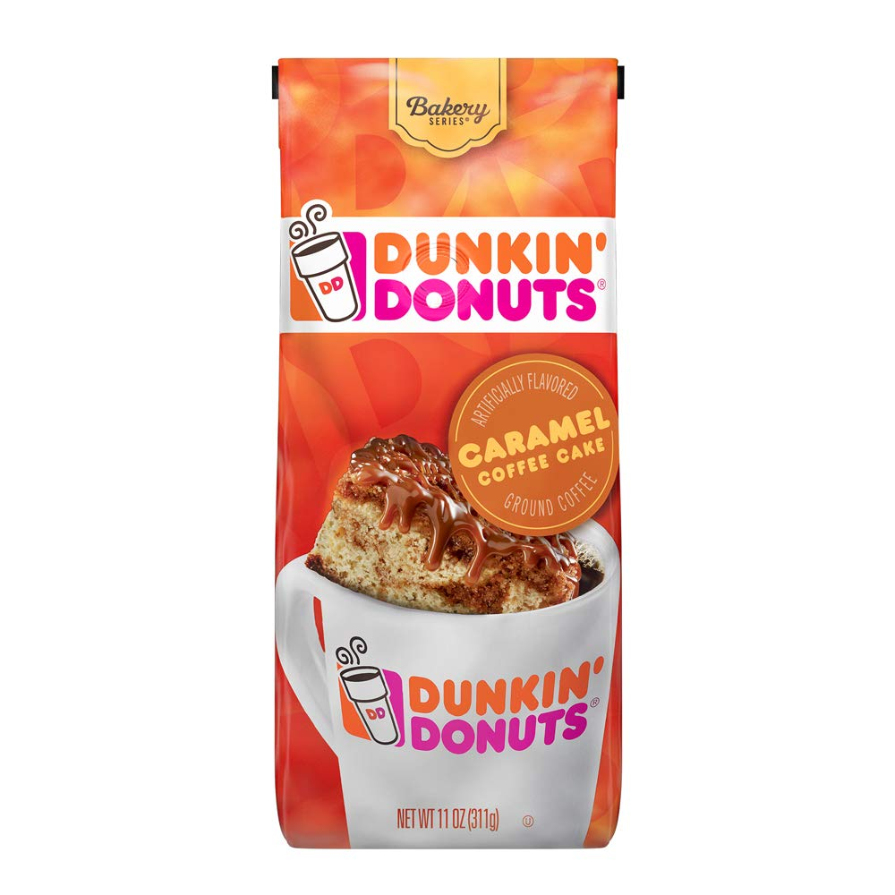 Dunkin' Donuts Ground Coffee, Caramel Coffee Cake, 11 Ounce