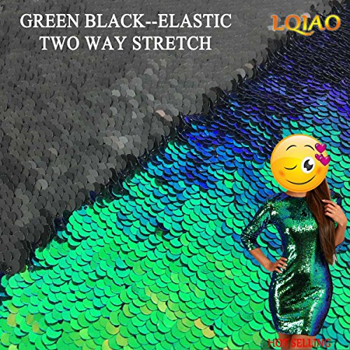 LQIAO 2017 Hot Sale Reversible Sequin Fabric Mermaid 125x92cm-Green Black, Two Tone Flip UP Embroidered Mermaid Sequin Fabric for Dress Wedding Decoration -
