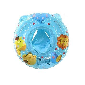 UClever Flotador de Bebé Natación Anillo Inflable Flotador de Seguridad Asiento Animales Salvajes de Piscina Nadar Anillo para Bebe 3-36 Meses (Azul): ...