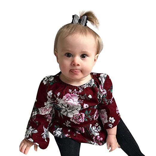 0e0b3428b Amazon.com  Outtop(TM) Toddler Newborn Infant Baby Girls Floral Long ...