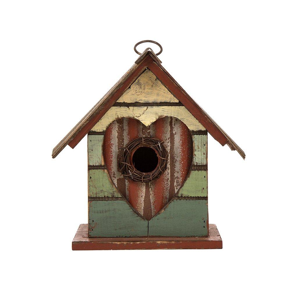 Glitzhome Distressed Heart Wooden Garden Bird House 8.66 Inch Height