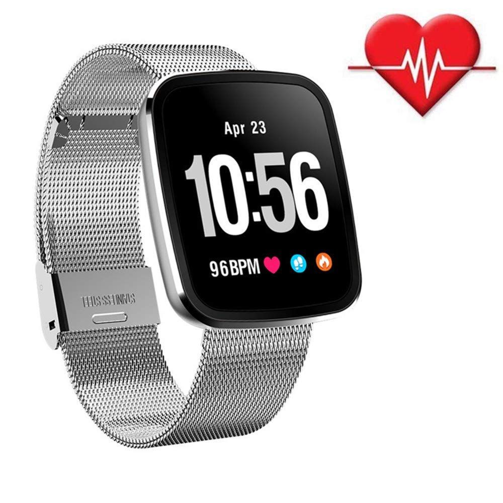 Jennyfly Sport Wristband, Multifunction Bluetooth Smart Watch IP67 Life Waterproof Fitness Watch with Heart Rate/Blood Pressure/Sleep Monitor Touch Screen Running Wristbandfor Women and Men - Silver