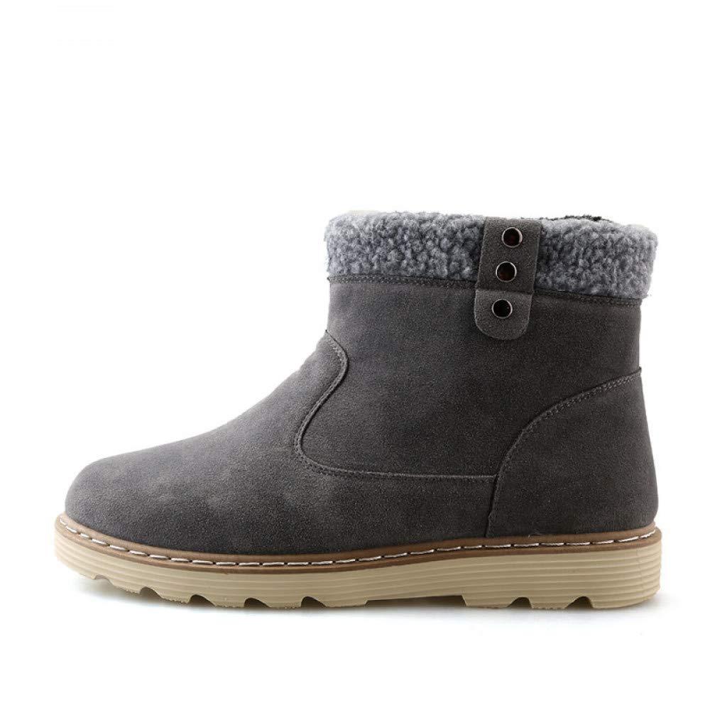 FHCGMX Split Leder Mode Winter Schnee Stiefel für männer männliche Schuhe Erwachsene beiläufige Slip-on Feste Schuhe Stiefeletten