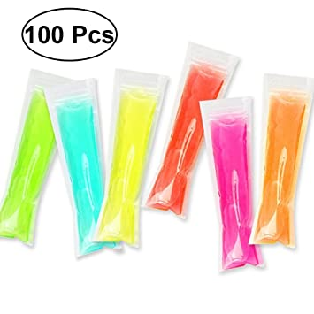 BESTONZON 100pcs Popsicle Moldes Bolsas Desechables Bolsas de Hielo DIY Pop Mould, Popsicle Bags Maker 6 x 22 cm