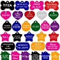 Pet ID Tags Many Shape, 8 Colors, Personalized Front and Back Premium Aluminum For Dogs and Cats from CNATTAGS LLC