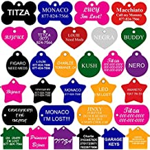 CNATTAGS Pet ID Tags Many Shape, 8 Colors, Personalized Front and Back Premium Aluminum For Dogs and Cats