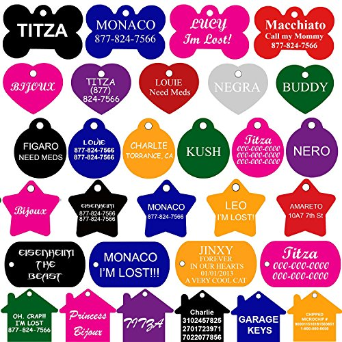 CNATTAGS Pet ID Tags Many Shape, 8 Colors, Personalized Front and Back Premium Aluminum For Dogs and - Id For Pets Tag Tags