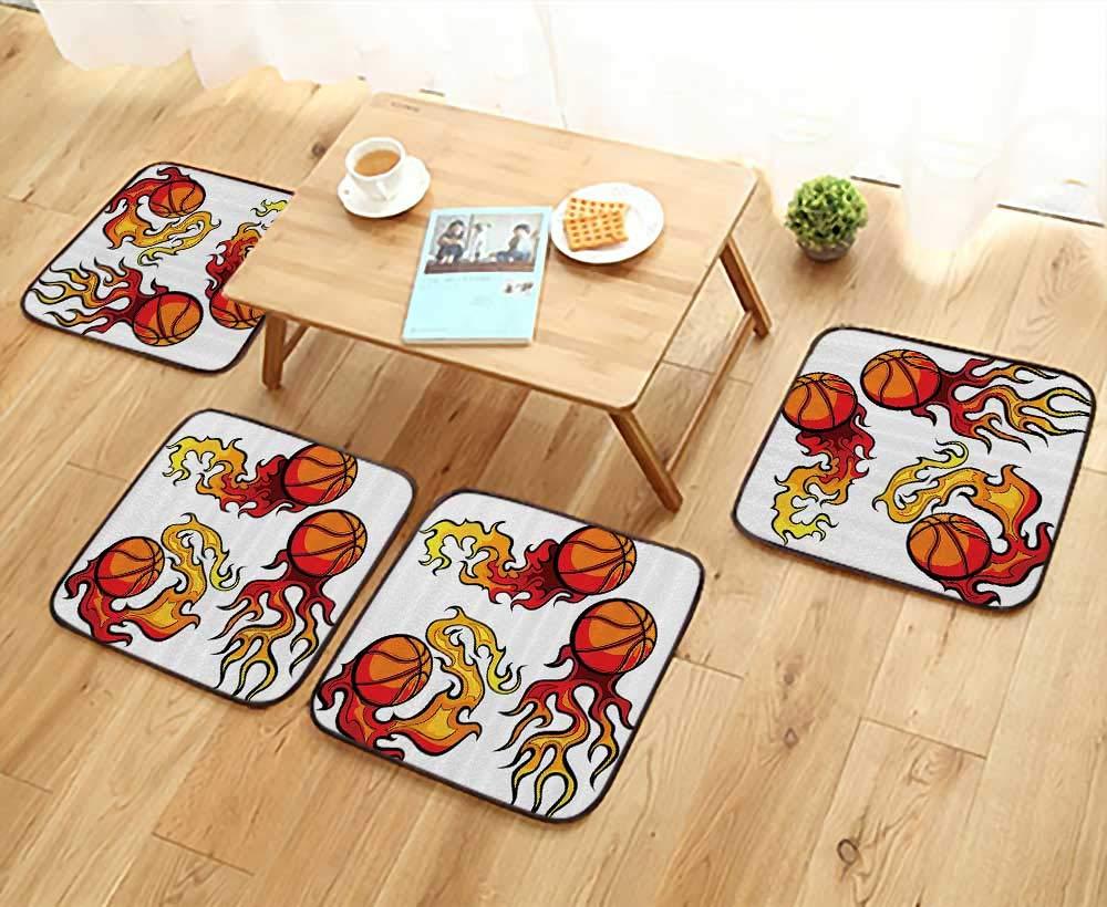 Printsonne Chair Cushions etball Ball Burning Flaming Hot Games Tournament Champi Non Slip Comfortable W25.5 x L25.5/4PCS Set