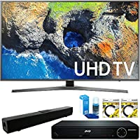Samsung 65 4K Ultra HD Smart LED TV 2017 Model UN65MU7000FXZA) with HDMI HD DVD Player, Solo X3 B.tooth Home Theater Sound Bar, 2x 6ft High Speed HDMI Cable & Screen Cleaner for LED TVs