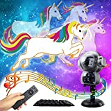 GAXmi Unicorn Animation LED Lights Music Decorative Projector Lighting for Children Birthday Easter Halloween Christmas