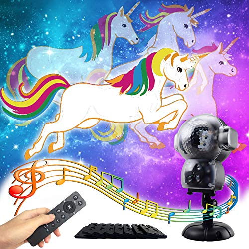 GAXmi Unicorn Animation LED Lights Music Decorative Projector Lighting for Children Birthday Easter Halloween -