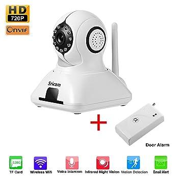 Cámara de Vigilancia WiFi LESHP IP HD WiFi P2P IR Vision nocturna sincronizar con detector de alarma puerta banda 433Hz detección de movimiento - ...
