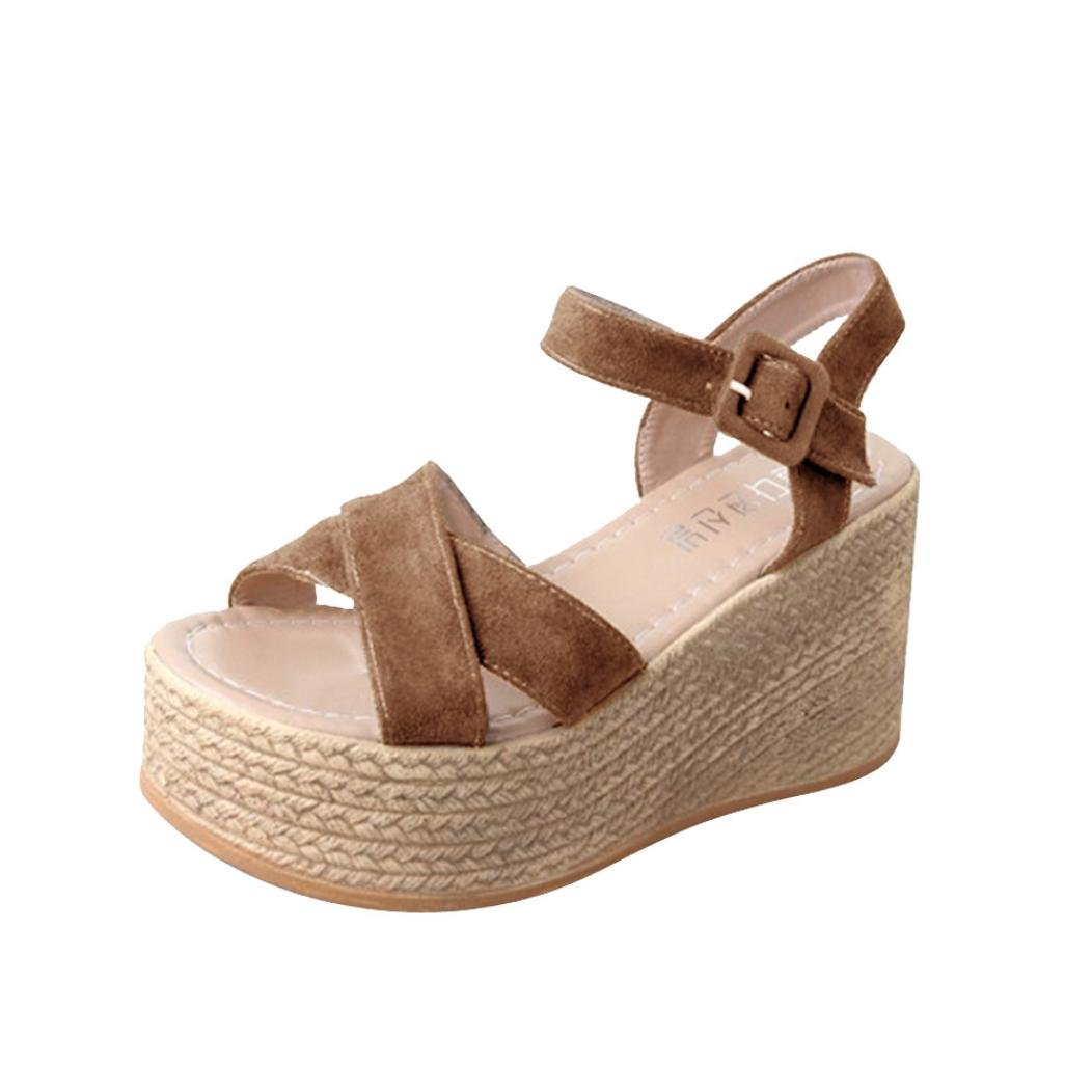Women Bohemia Open Toe Wedges Platform Sandals Altas Para Mujer Sandalias Tacon Grueso Plataforma 2018 Moda (US 6, Brown)
