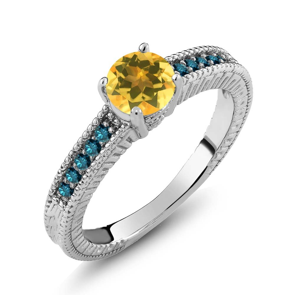 0.87 Ct Round Yellow Citrine Blue Diamond 925 Sterling Silver Engagement Ring