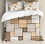 Arabian Duvet Cover Set by Ambesonne, Colorful Patchwork Art Oriental Patterns Ornaments Cultural Illustration Print, 3 Piece Bedding Set with Pillow Shams, King Size, Brown Cream