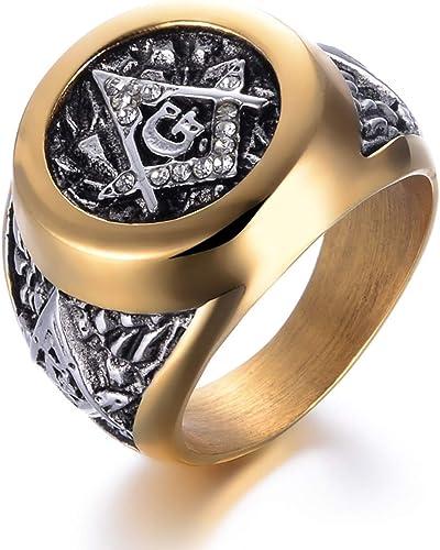 Bavaha Stainless Steel Masonic Ring For Men Freemason Symbol G