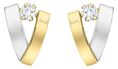 Carissima Gold Women's 9 ct Yellow and White Gold Cubic Zirconia Band V-Shaped Earrings wGJH0Nr