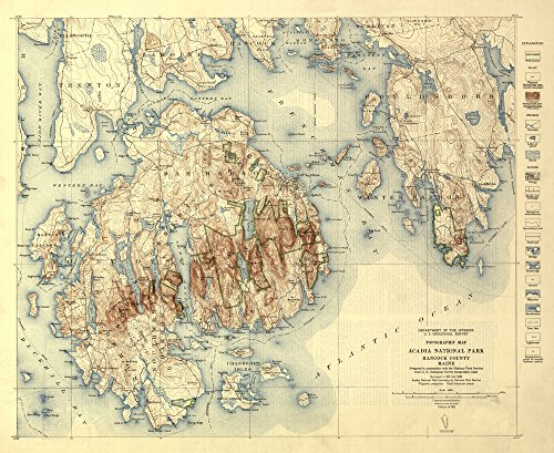 (Acadia National Park, Maine - (1931) - Topographic Panoramic Map (12x18 Art Print, Wall Decor Travel Poster))