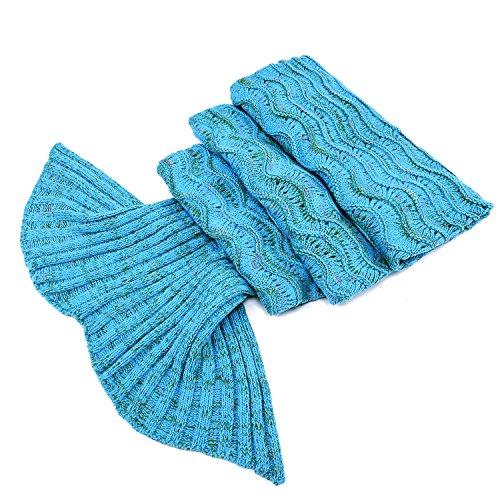 LAGHCAT Mermaid Tail Blanket Knit Crochet Mermaid Blanket for Adult, Oversized Sleeping Blanket, Wave Pattern (Lake Blue, 75x35.5)