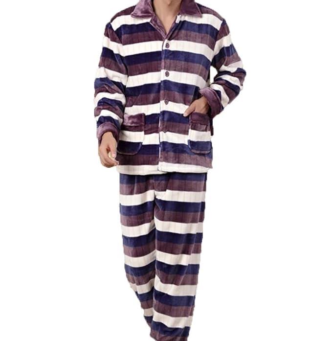 Pijamas Invierno Espesamiento Hombres Calientes Pijamas Franela Traje De Manga Larga Rayas Servicio A Domicilio De