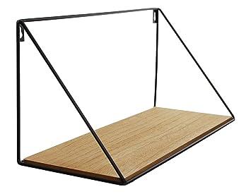 Frank Flechtwaren Série 2 étagères Murales Conception Simple Et Moderne Métal Laqué Noir Mat Planche De Bois Avec Grain Naturel